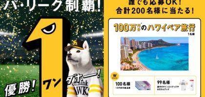 100万円分の旅行券が当たるソフトバンク優勝記念懸賞!