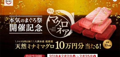 天然ミナミマグロ10万円分が当たる鮪クイズ!