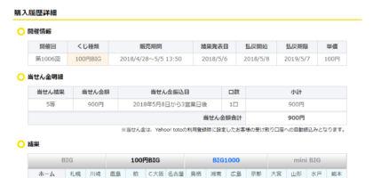 最高2億円が当たる「100円 BIG」の5等が当選しました!