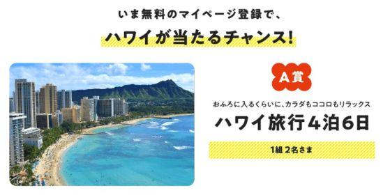 会員登録でハワイ旅行が当たるノーリツの高額懸賞!