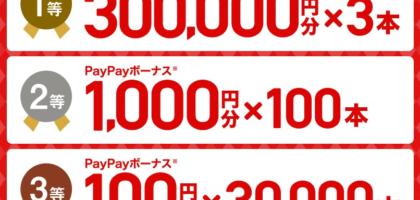30万円分のPayPayボーナスなどがその場で当たるYahoo!のクチコミキャンペーン!